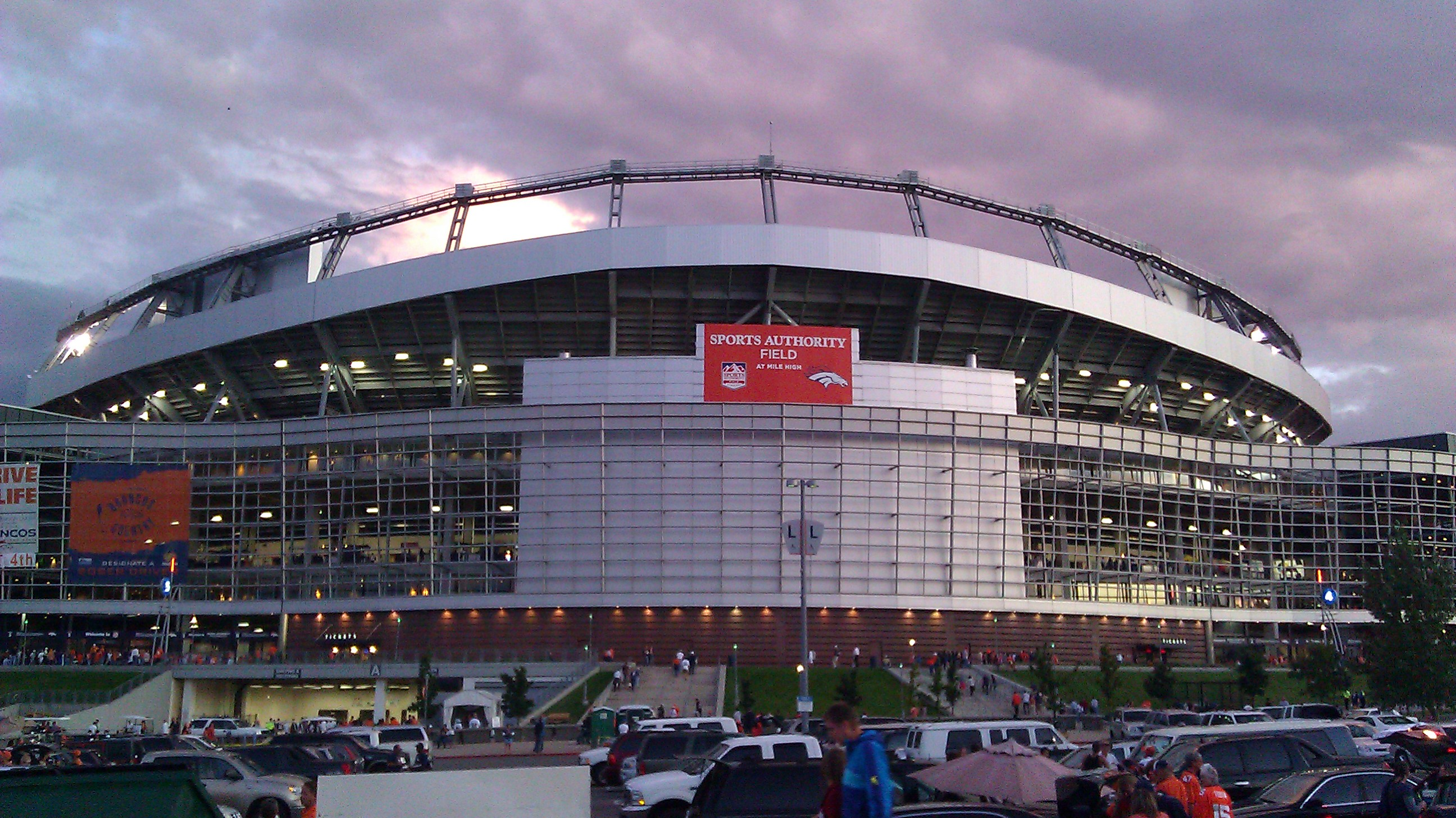 Sports authority field at night
